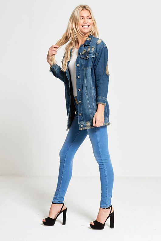 Frayed Hem Distressed Denim Oversized Jacket