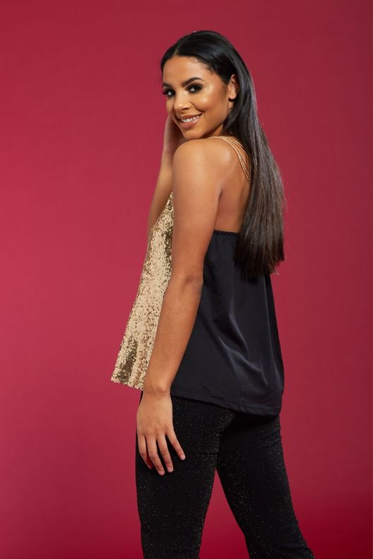 Gold Sequin Chain Detail Top