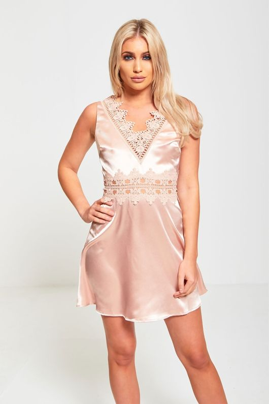 Dusty Pink Crochet Detail Skater Dress