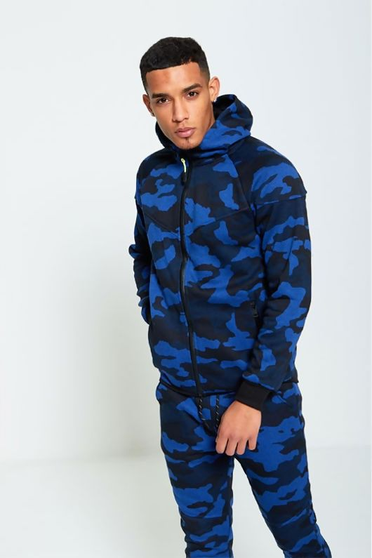 Blue And Navy Camouflage Print Hooded Tracksuit