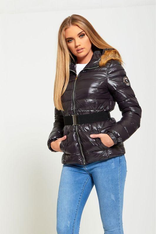 Black Belted Fur Hood High Shine Puffer Coat