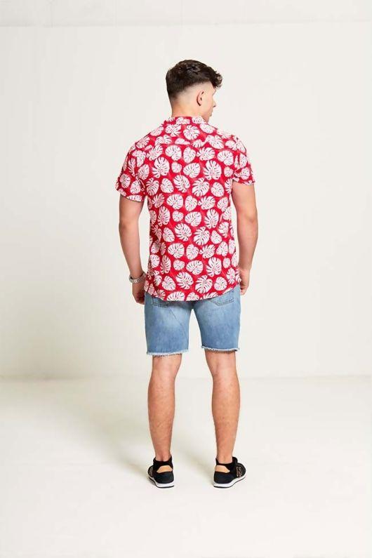 Leaf Print Hal Sleeve Shirt