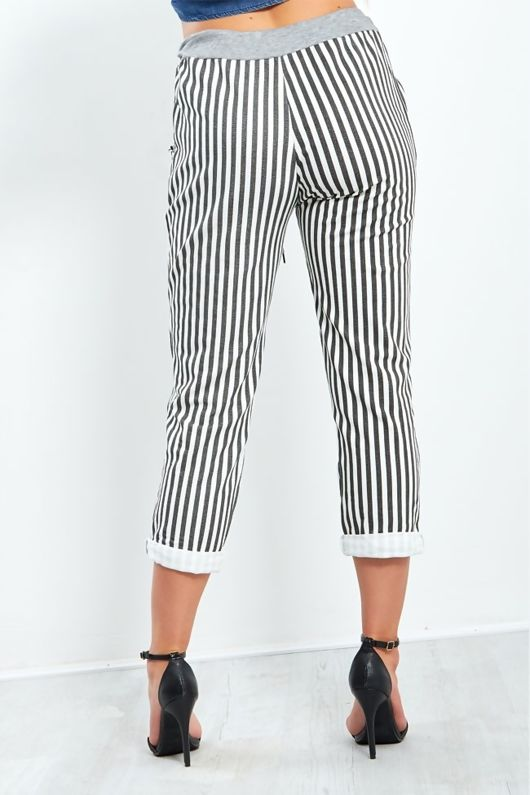 Charcoal Striped Turned Up Hem Trousers