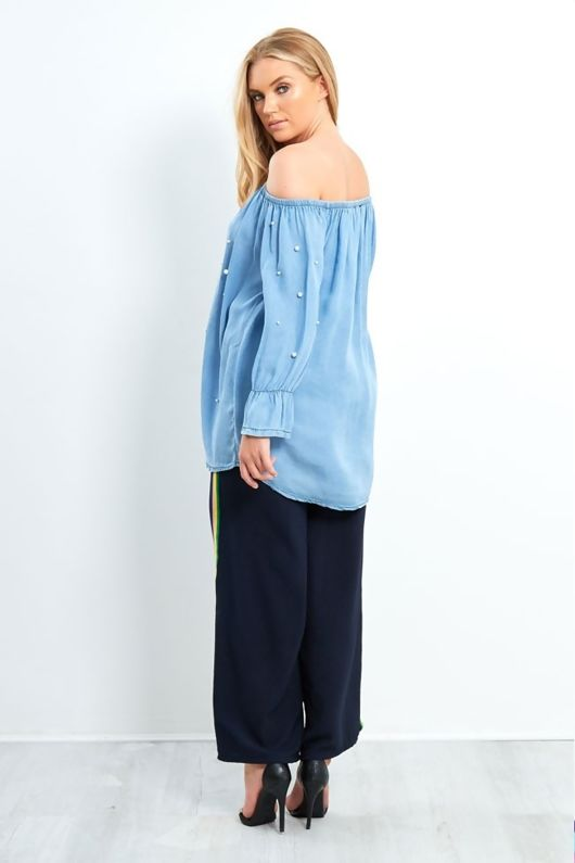 light denim pearled bardot shirt -Copy