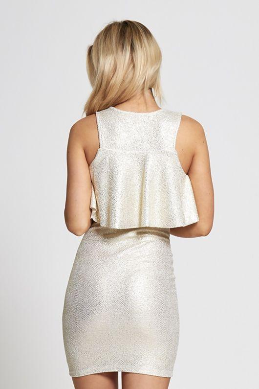Cream Metallic Frill Mini Dress