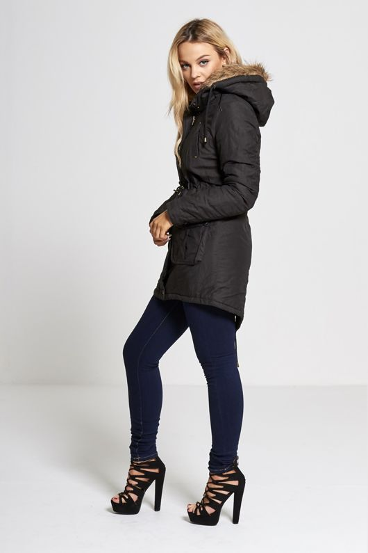 Black Fur Lined Hood Brave Soul Parka Coat