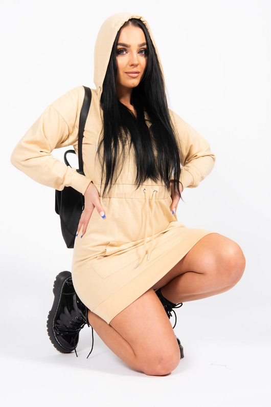Beige Waist Tied Front Zip Sweat Hoodie Dress