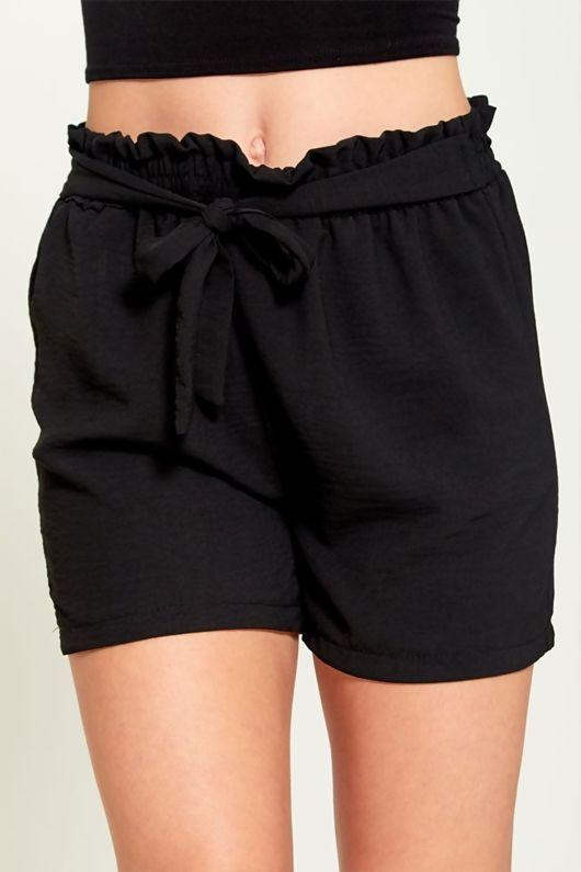 Black High Waist Belted Ruffle Shorts