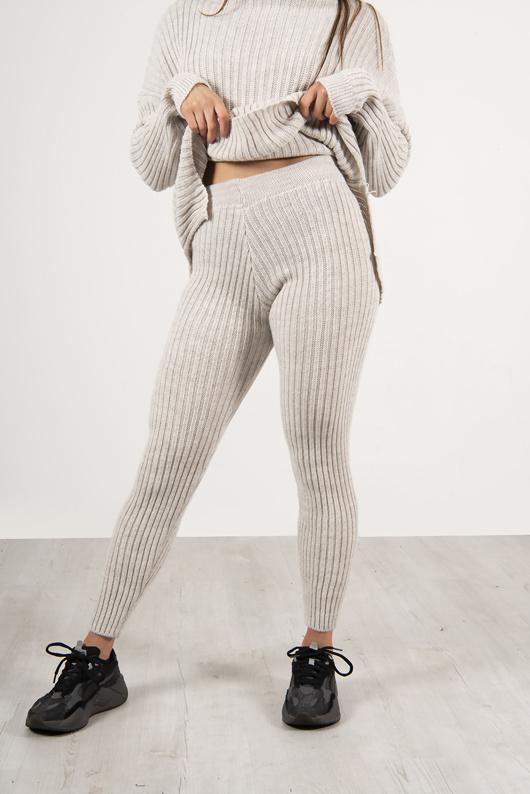 Grey Roll Neck Knit Lounge Set