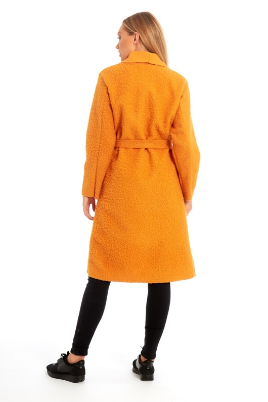 Mustard Borg Belted Long Coat