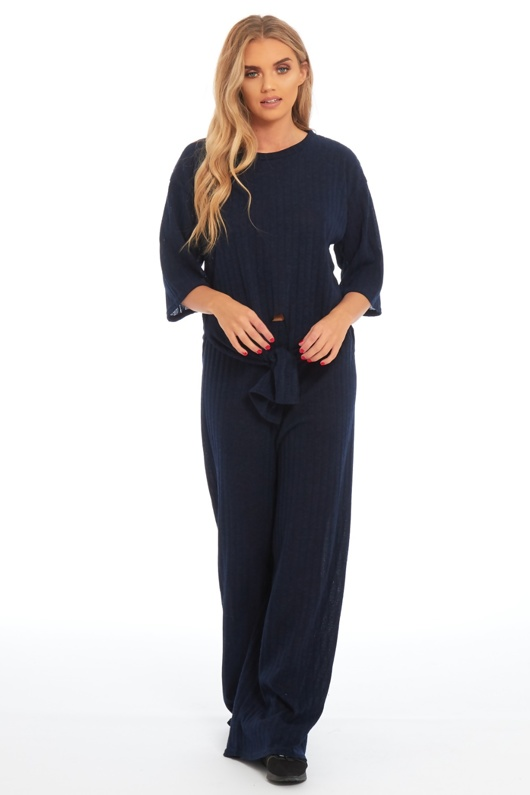 Navy Knot Front Top And Pants Co-ord