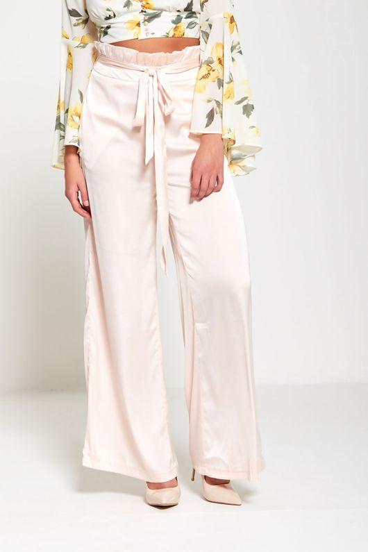 Pink Satin Wide Leg Trouser