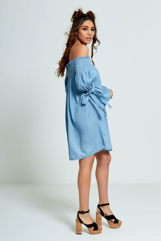 Denim Bardot Elasticated Detail Dress