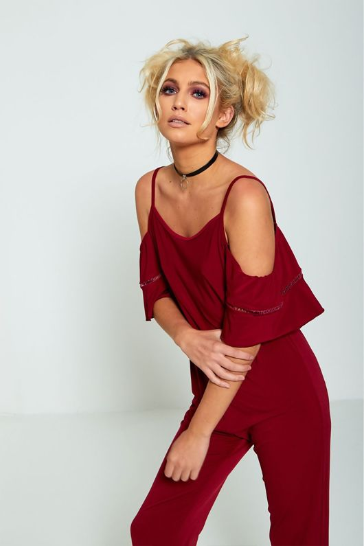 Cold Shoulder Frill Sleeve Wine Jumpsuit