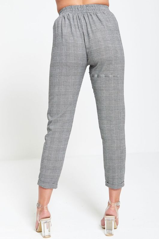 Gingham Tapered Cropped Trousers