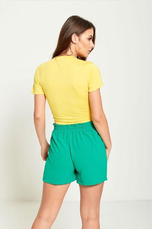 Green High Waist Belted Ruffle Shorts