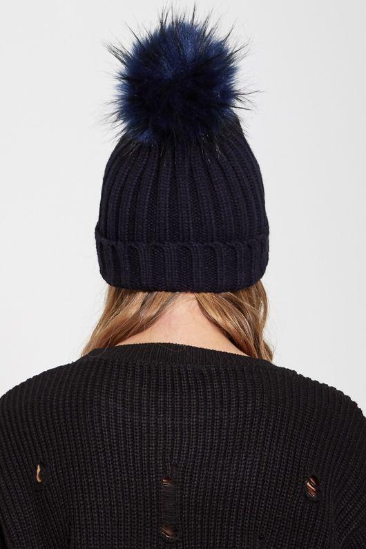 Navy Faux Fur Pom Pom Beanie Hat