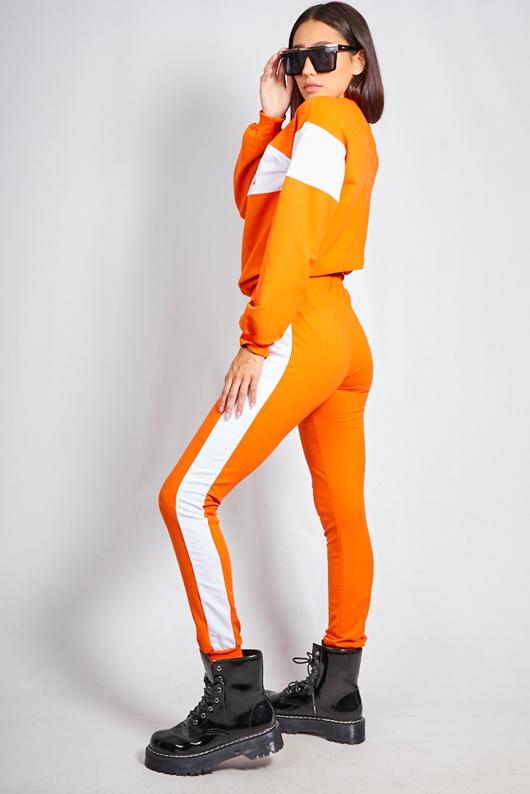Neon Orange Vogue Striped Loungewear Jogger Set