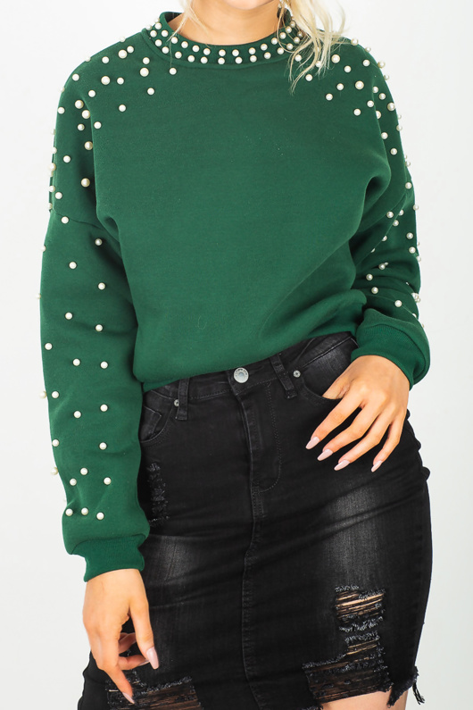 Emerald Green Pearl Embellished Sweatshirt