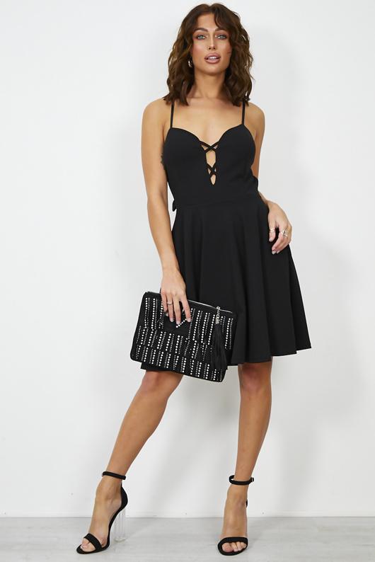 Black Knot Back Skater Dress