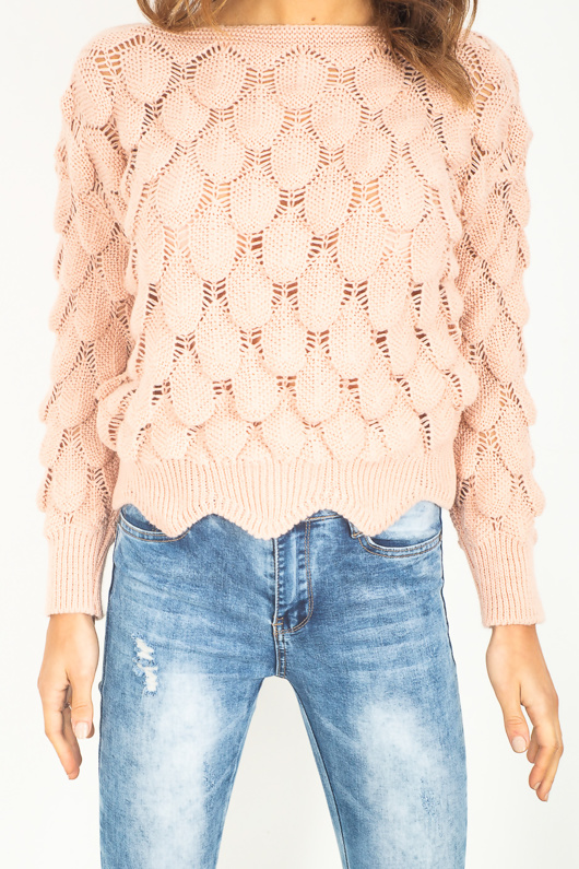 Pink Scallop Hem Bobble Jumper