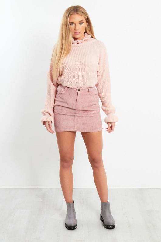 Pink Ruffle Hem Knit Jumper
