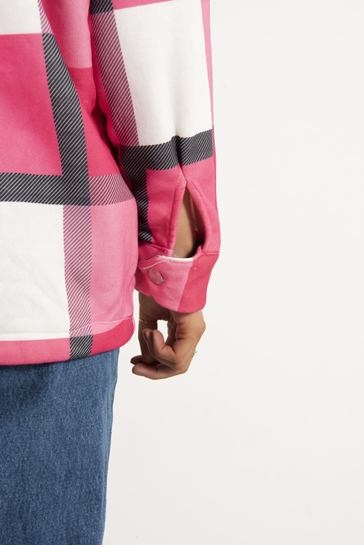 Pink Check Button Detail Shacket
