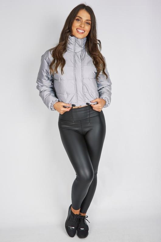 Grey Reflective Cropped Puffer Jacket