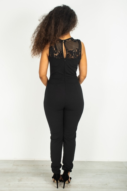 Black Crochet Detail Jumpsuit