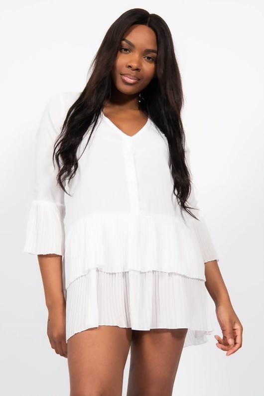 White Ruffle Pleated Smock Mini Dress