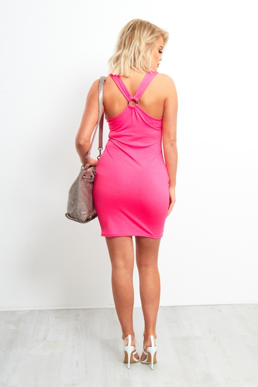 Neon Pink Sleeveless Bodycon Dress With Ring Back