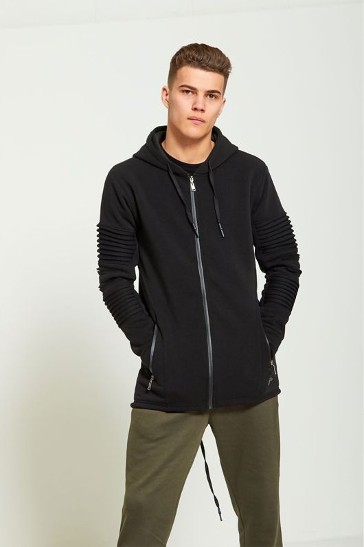 Ribbed Sleeve Longer Back Hoodie