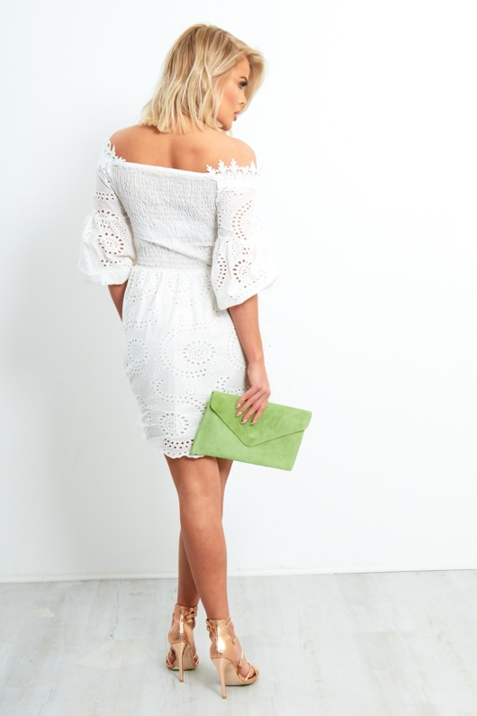 White Bardot Lace Broderie Tie Up Front Mini Dress