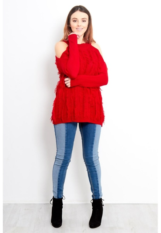 Red Feather Tassel Open Shoulder Jumper