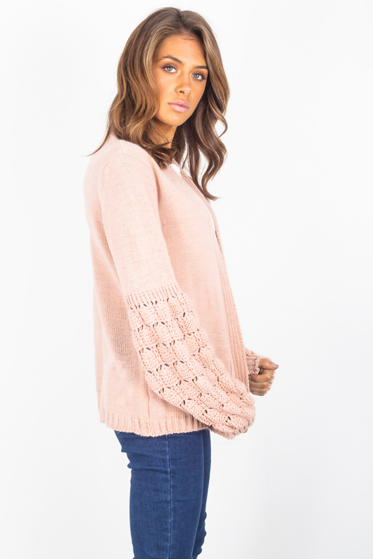 Pink Bubble Sleeve Cardigan