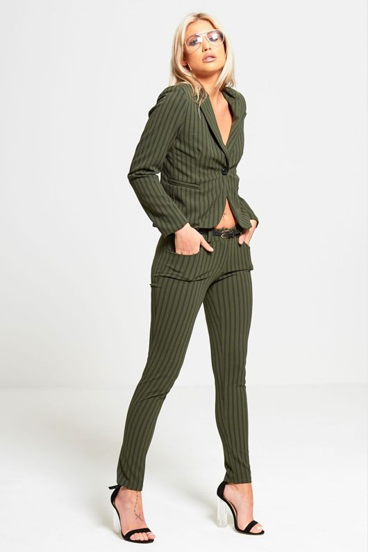 Green Striped Slim Fit Blazer