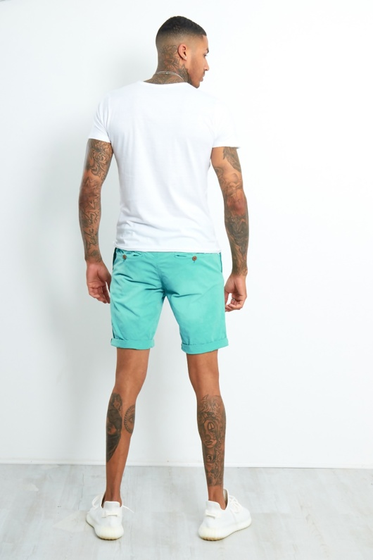 Mens Teal Faded Turn Up Shorts