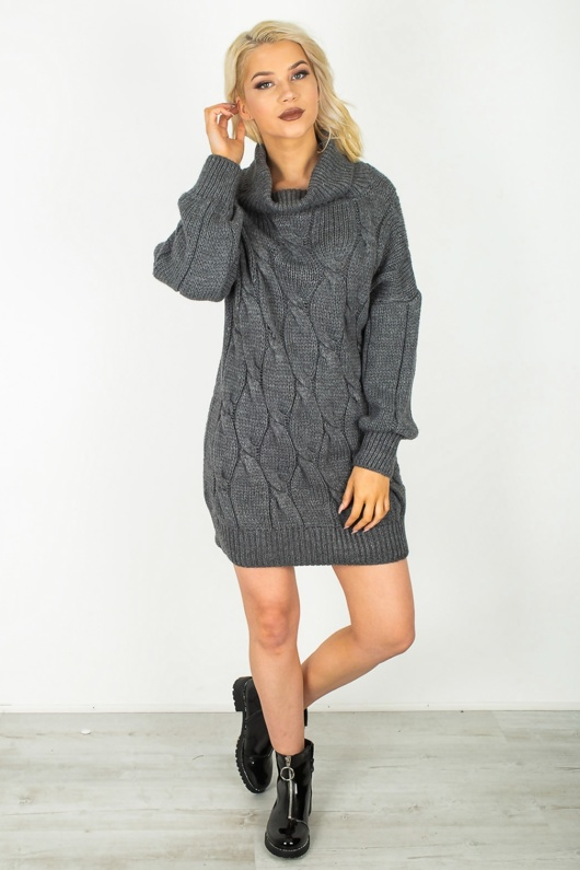 Charcoal Roll Neck Cable Knit Jumper Dress