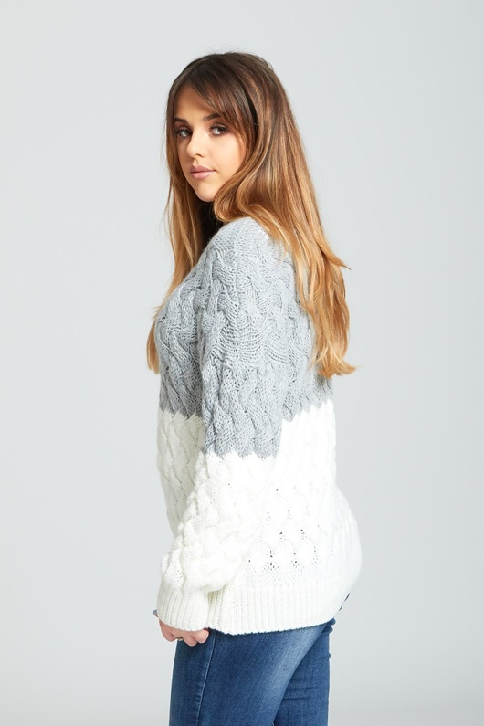 Grey Crew Neck Thick Knit Jumper