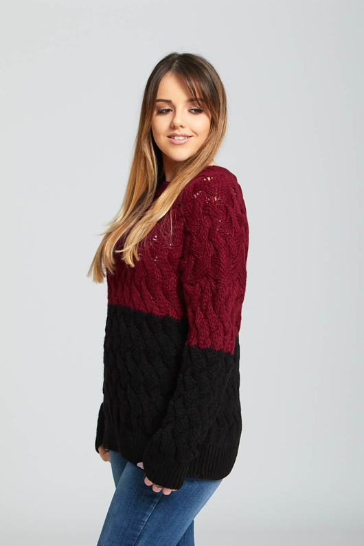 Wine Crew Neck Thick Knit Jumper