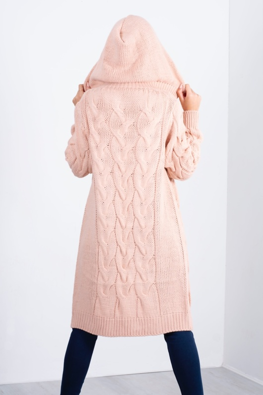 pink cable knit hooded cardigan