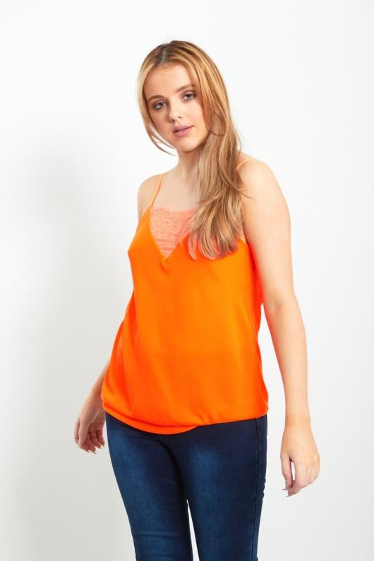 Orange V Neck Lace Trim Cami Top
