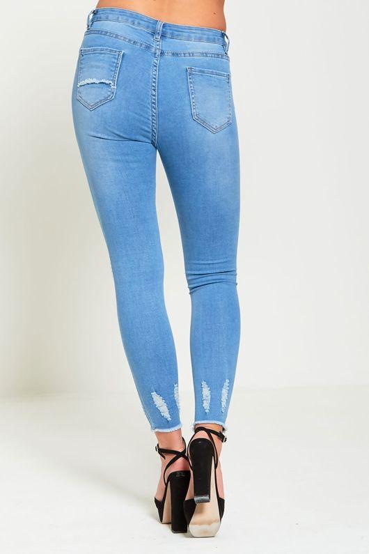 Frayed Hem Ripped Knee Pearl Detail Skinny Jeans