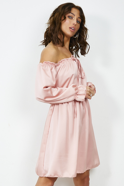 Rose Gold Satin Tie Front Frill Bardot Dress