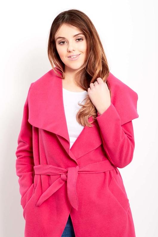 Pink Tie Front Duster Coat