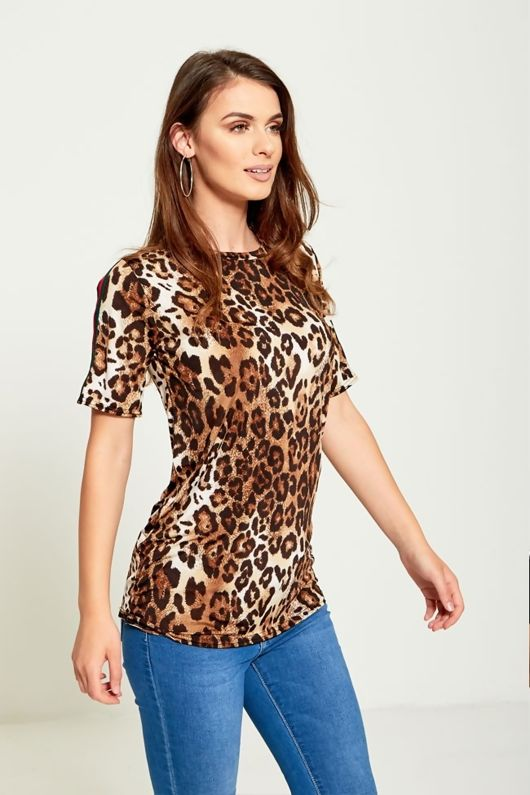 Brown Leopard Print Striped T-Shirt