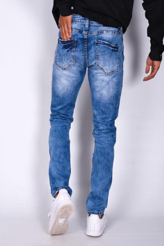 Mid Blue Denim Knee Ripped Skinny Jeans