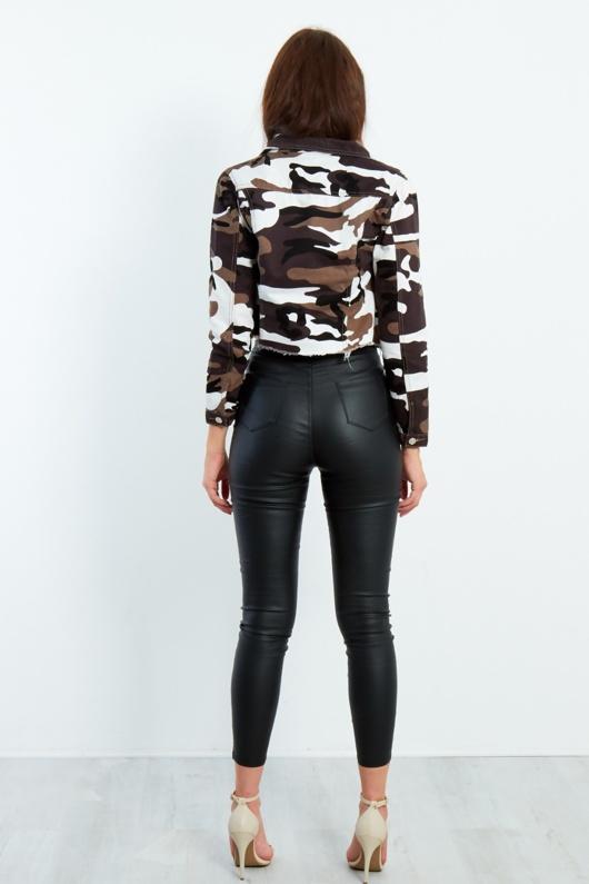 Camouflage Frayed Hem Cropped Jacket