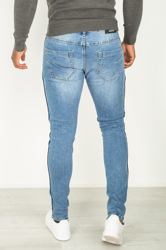 Mens Basic Blue Distressed Ripped Denim Jeans