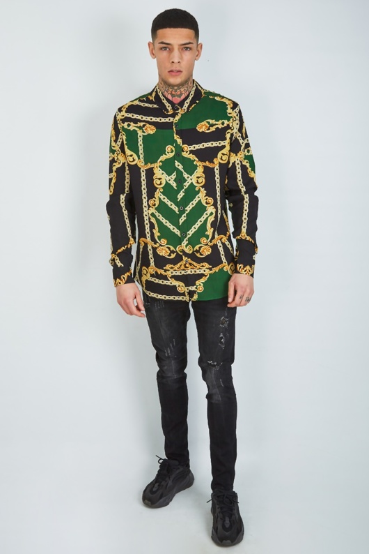 Mens Green Baroque And Chain Print Shirt